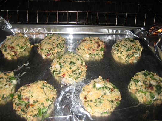 Quinoa cakes in oven