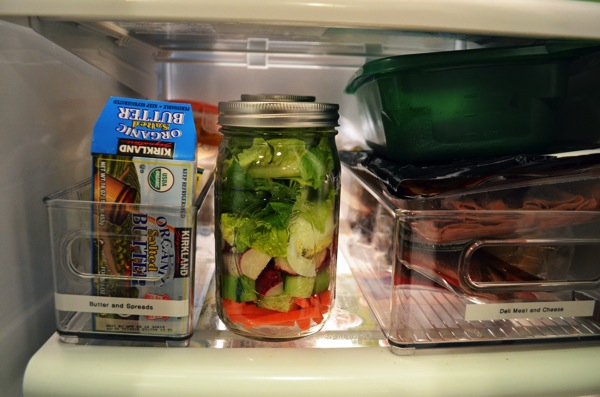 Mason Jar Salad looking pretty in fridge