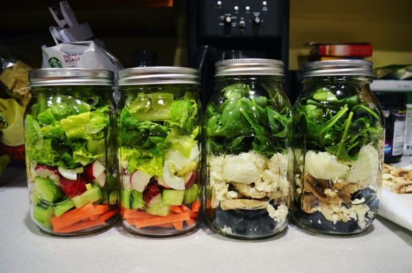 Mason Jar Salads completed