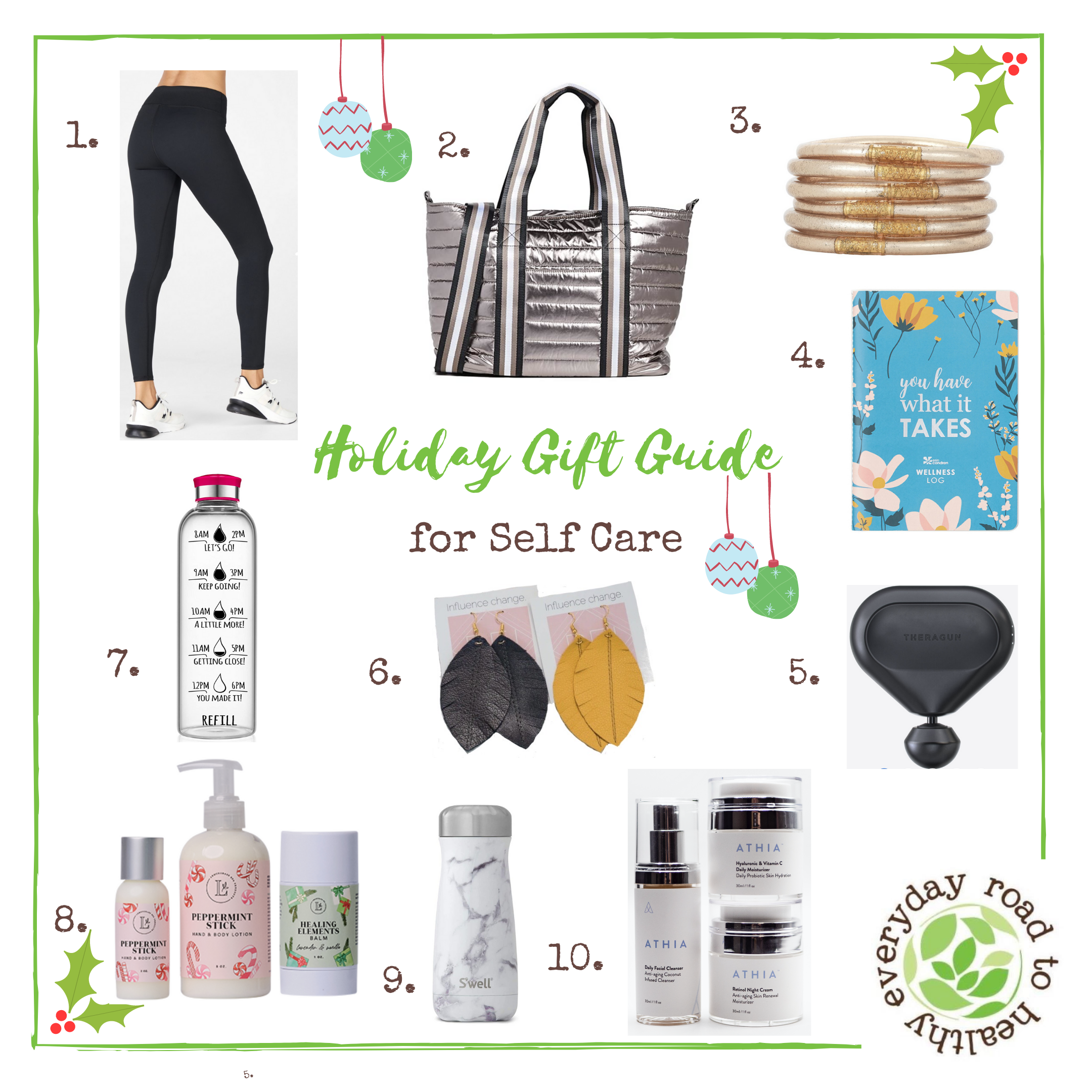 10 must images of Holiday Self Care items on a gift guide