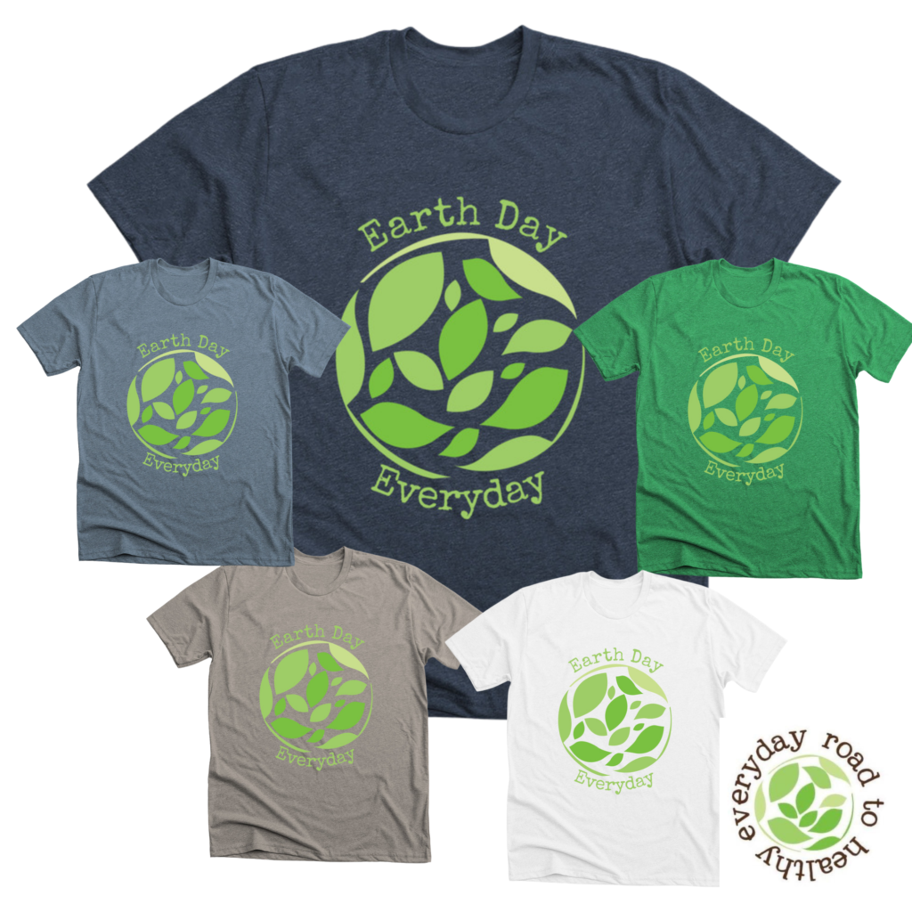 5 color samples for Earth Day Everyday shirts
